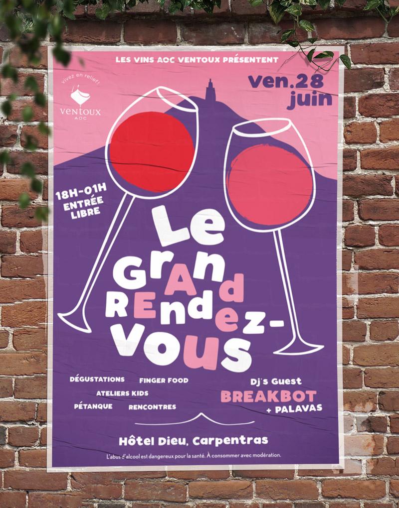 Affiche – Le grand rendez-vous des AOC Ventoux – Agence Effervescence Avignon